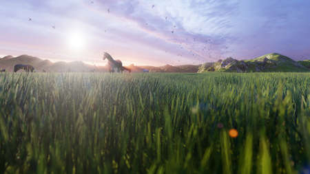 A herd of young horses graze on a picturesque green meadow on a beautiful summer morning. 3D Rendering Фото со стока - 126583326