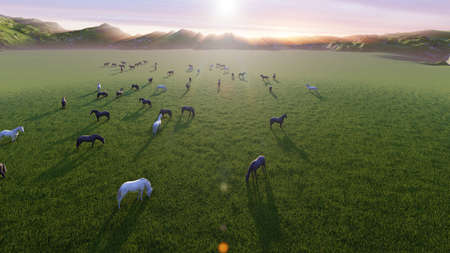 A herd of young horses graze on a picturesque green meadow on a beautiful summer morning. 3D Rendering