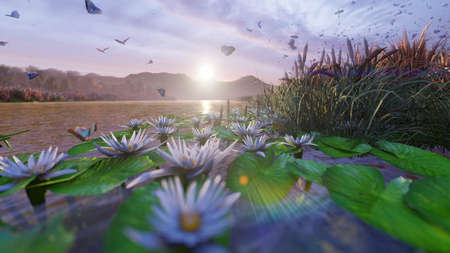 View of a beautiful pond in the countryside. Beautiful nature, endless fields with insects, butterflies and birds. 3D Rendering