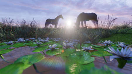 Two young horses graze on a picturesque green meadow near a beautiful pond on a beautiful spring morning. 3D Rendering