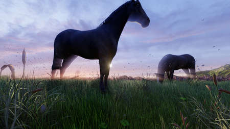 Two young horses graze on a picturesque green meadow near a beautiful pond on a beautiful spring morning. 3D Rendering Фото со стока - 125045675