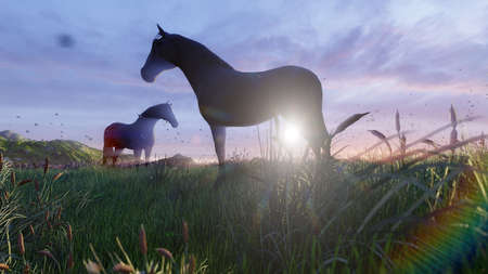 Two young horses graze on a picturesque green meadow near a beautiful pond on a beautiful spring morning. 3D Rendering Фото со стока - 125045677