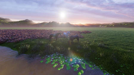Two young horses graze on a picturesque green meadow near a beautiful pond on a beautiful spring morning. 3D Rendering Фото со стока - 125045679