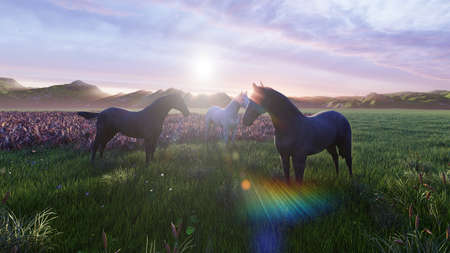 A herd of young horses graze on a picturesque green meadow on a beautiful summer morning. 3D Rendering Фото со стока - 125045680