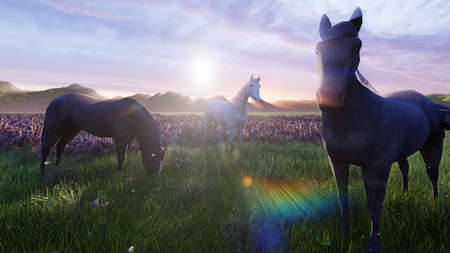 A herd of young horses graze on a picturesque green meadow on a beautiful summer morning. 3D Rendering Фото со стока - 125045681