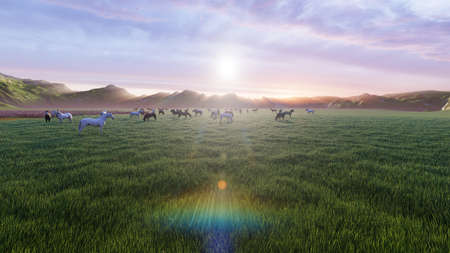 A herd of young horses graze on a picturesque green meadow on a beautiful summer morning. 3D Rendering Фото со стока - 125045683