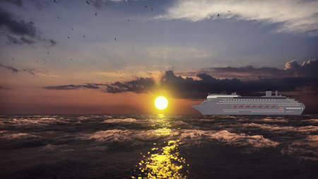 Luxury cruise ship sailing from the port at sunrise across the ocean. Beautiful summer background. 3D Rendering Фото со стока - 125045682