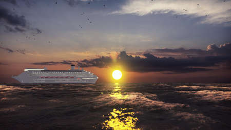 Luxury cruise ship sailing from the port at sunrise across the ocean. Beautiful summer background. 3D Rendering