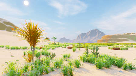 Desert horizon. Clear day. Mountains in the distance, sand dunes and blue sky. Beautiful scenery. Sand dunes and hot sky. Sand dunes and cacti. 3D Rendering Фото со стока - 125045686