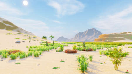 Desert horizon. Clear day. Mountains in the distance, sand dunes and blue sky. Beautiful scenery. Sand dunes and hot sky. Sand dunes and cacti. 3D Rendering Фото со стока - 125045687