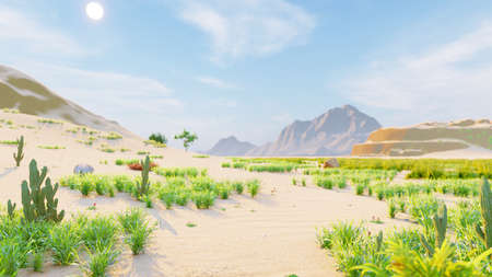Desert horizon. Clear day. Mountains in the distance, sand dunes and blue sky. Beautiful scenery. Sand dunes and hot sky. Sand dunes and cacti. 3D Rendering Фото со стока - 125045688