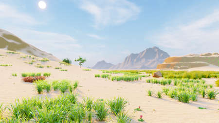 Desert horizon. Clear day. Mountains in the distance, sand dunes and blue sky. Beautiful scenery. Sand dunes and hot sky. Sand dunes and cacti. 3D Rendering Фото со стока