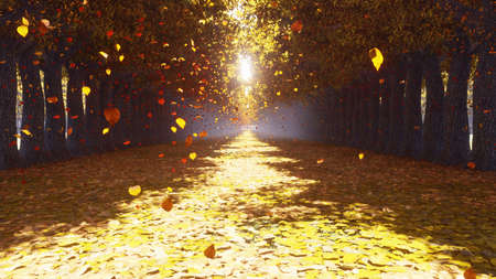 The autumn Park. Autumn leaves fall from the trees and fly towards. Autumn colorful landscape. 3D Rendering