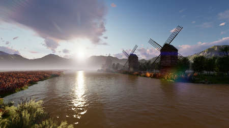 Traditional village windmill standing near the pond against the background of mountains and clouds. 3D Rendering