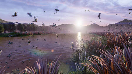 View of a beautiful pond in the countryside. Beautiful nature, endless fields with insects and birds. 3D Rendering