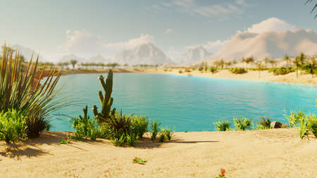 An oasis in the desert. Clear hot day. Distant mountains, sand dunes and a sultry sky. Beautiful scenery. Insects in the bushes and birds in the sky. Sand dunes and cacti. 3D Rendering Фото со стока