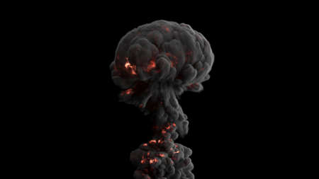 Realistic Giant explosion and black smoke. 3D Rendering Фото со стока