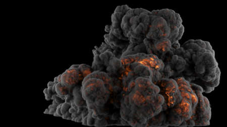 Realistic Giant explosion and black smoke. 3D Rendering