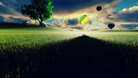 Hot air balloon flight at sunset over endless green fields. Beautiful nature and Summer landscape. 3D Rendering Фото со стока - 125045829