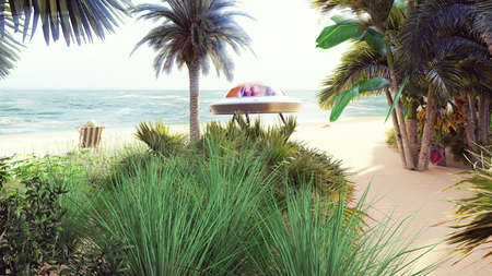 Alien resting on a tropical sea beach on a hot summer day. Fantasy about having a rest alien. 3D Rendering