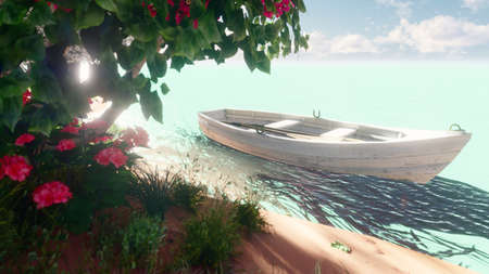 Beautiful island with nice flowers and trees. An old fishing boat on calm sea waters. 3D Rendering