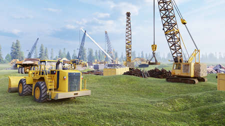 Industrial landscape with cranes and tractors, construction site on a foggy summer day. The concept of the construction. 3D Rendering Reklamní fotografie