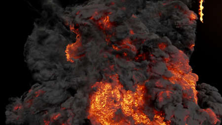 The strongest explosion, the fire swirls along with black smoke. 3D Rendering