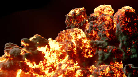 Burning fuel. Close-up of a flame burning fuel with thick black smoke. 3D Rendering Imagens