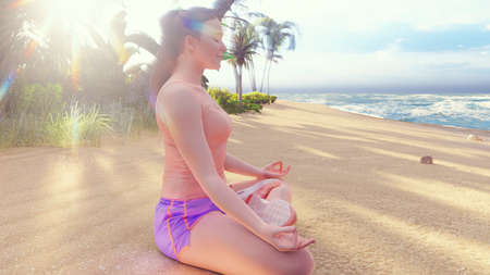 Beautiful young woman performing a spiritual yoga pose on the ocean shore at sunrise. A woman in the Lotus position is sitting on the beach. 3D Rendering Stok Fotoğraf