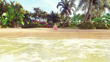 Beautiful young woman in the Lotus position, doing yoga on the beach by the ocean at dawn. 3D Rendering