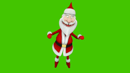 The dance of a cheerful Santa Claus. The Concept of Christmas.