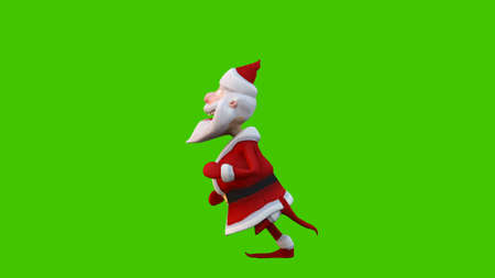 The dance of a cheerful Santa Claus. The Concept of Christmas. 3D Rendering