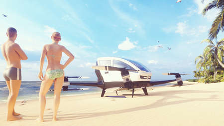 Unmanned passenger air taxi on the beach of a tropical island. The concept of the future driverless taxi. 3D Rendering