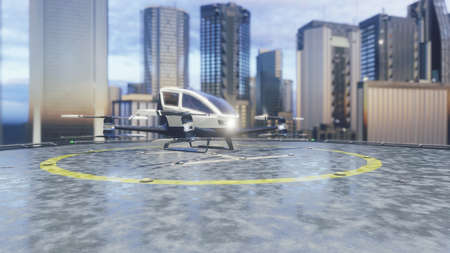 Pilotless passenger air taxi makes a departure for the call of the client. The concept of the future unmanned taxi. 3D Rendering