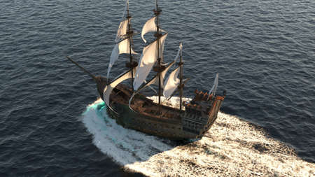 A medieval ship sailing in a vast blue ocean. The concept of sea adventures in the Middle ages. 3D Rendering