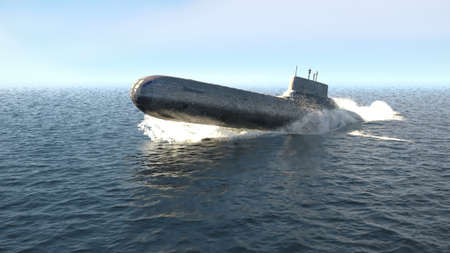 A nuclear-powered military submarine emerges from the depths of the ocean. 3D Rendering Stock Photo