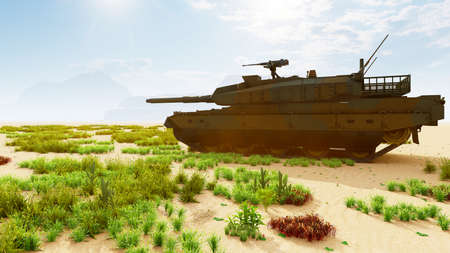 A military tank in the middle of the desert shoots at a target. Special operation of the military. 3D Rendering Imagens