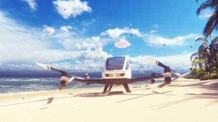 An unmanned passenger air taxi lands on a tropical beach. The concept of the future driverless taxi. 3D Rendering Imagens
