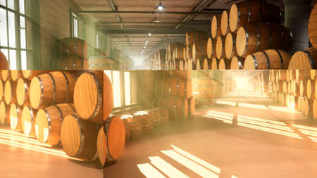 Warehouse with barrels for wine, whiskey or other alcohol. Barrels lying in several rows. 3D Rendering