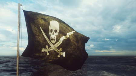 Pirate flag with Jolly Roger. Pirate flag in the wind with cloudy sky on the background of the sea before the storm. 3D Rendering Standard-Bild