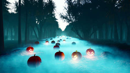 Glowing pumpkins, dark forest, Halloween celebration. Night landscape with a mystical fog, glowing a terrible pumpkins in a foggy night in a forest. Horror and Halloween concept. 3D Rendering