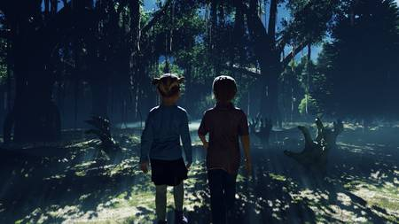 Little children walk through a dark mysterious misty swamp forest landscape. Dead hands reach for them from the ground, steam rises from the swamp, for a Halloween backdrop. Standard-Bild