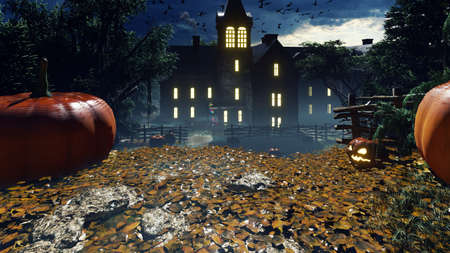 Children came to visit on Halloween in the old house. Glowing pumpkins, mystical fog, Halloween celebration. The concept of Halloween horror. 3D Rendering Фото со стока - 150188432