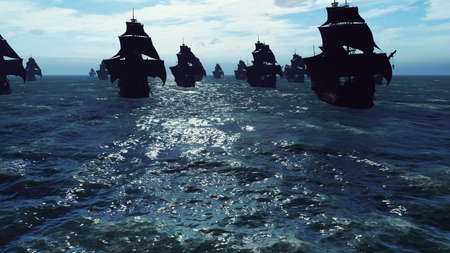 Medieval ships sail to a tropical island in the vast blue ocean. The concept of sea adventures in the Middle ages. 3D Rendering
