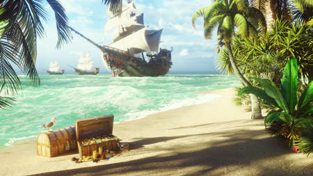 Sand, sea, sky, clouds, palm trees and a clear summer day. Pirate frigates docked near the island. Pirate island and chests of gold. 3D Rendering Standard-Bild