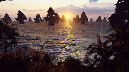 Medieval ships docked on an island in the vast blue ocean at sunset. The concept of sea adventures in the Middle ages.