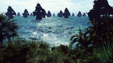 Medieval ships sail to a tropical island in the vast blue ocean. The concept of sea adventures in the Middle ages.