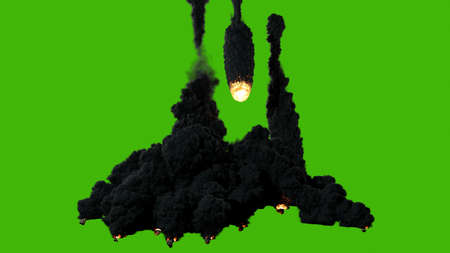 A high-quality cinematic of a shooting star or meteor flying from the sky, lighting up the darkness and releasing clouds of smoke before crashing into the ground and breaking up into several pieces in front of a green screen.