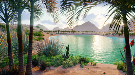 An amazing fantasy oasis in the desert. Clear day. Distant mountains, sand dunes, palm trees and a sultry sky with clouds. 3D Rendering Stock Photo