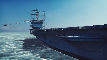 Military helicopters Blackhawk take off from an aircraft carrier at clear day in the endless sea. 3D Rendering